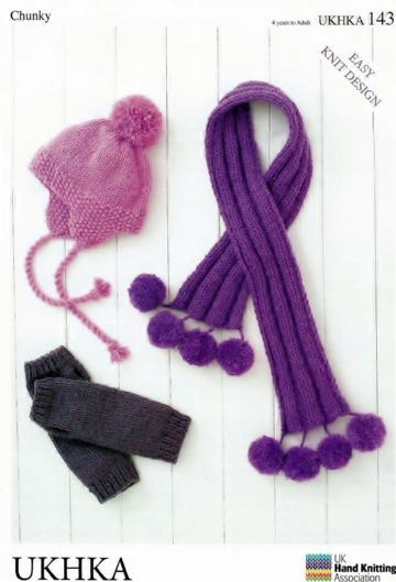 Chunky Childrens & Adult Hat, Wristwarmers & Scarf Knitting Pattern - UKHKA 143
